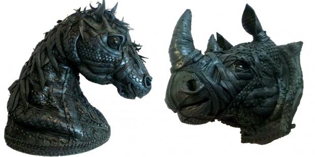 Esculturas hechas con restos de neumáticos usados. Cedida: Ángel Cañas