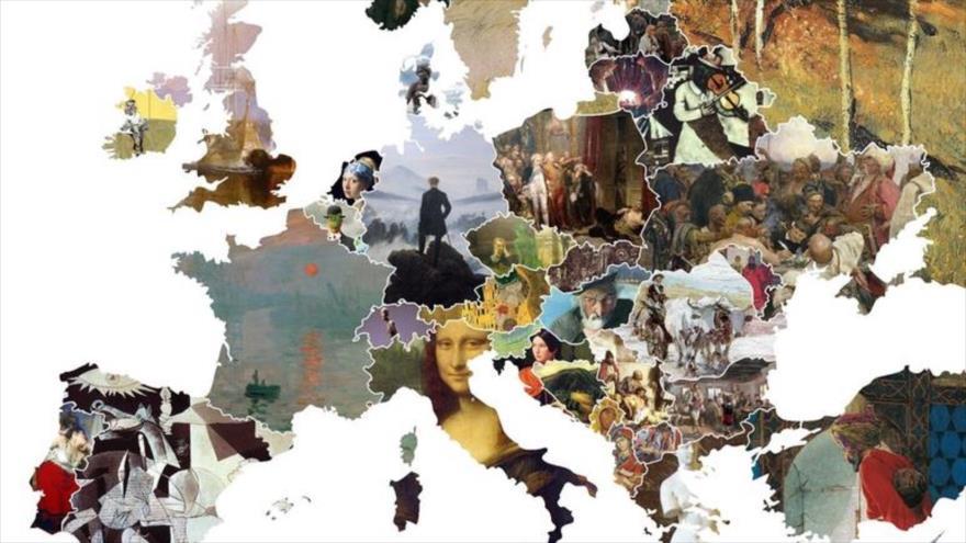 Parte del mapa que muestra las mejores obras de los pintores europeos según los países donde nacieron.