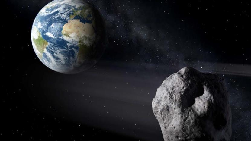 Representación gráfica del acercamiento de un asteroide a la Tierra.