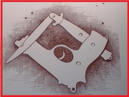 """Coltello e Pistola = Squadra e Compasso. [raffigurazione di Enzo Patti tratta da p.56 di """"Osso, Mastrosso e Carcagnosso"""", di Vincenzo Macrì, edito da Rubettino]"""