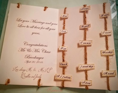 inside rustic wedding card