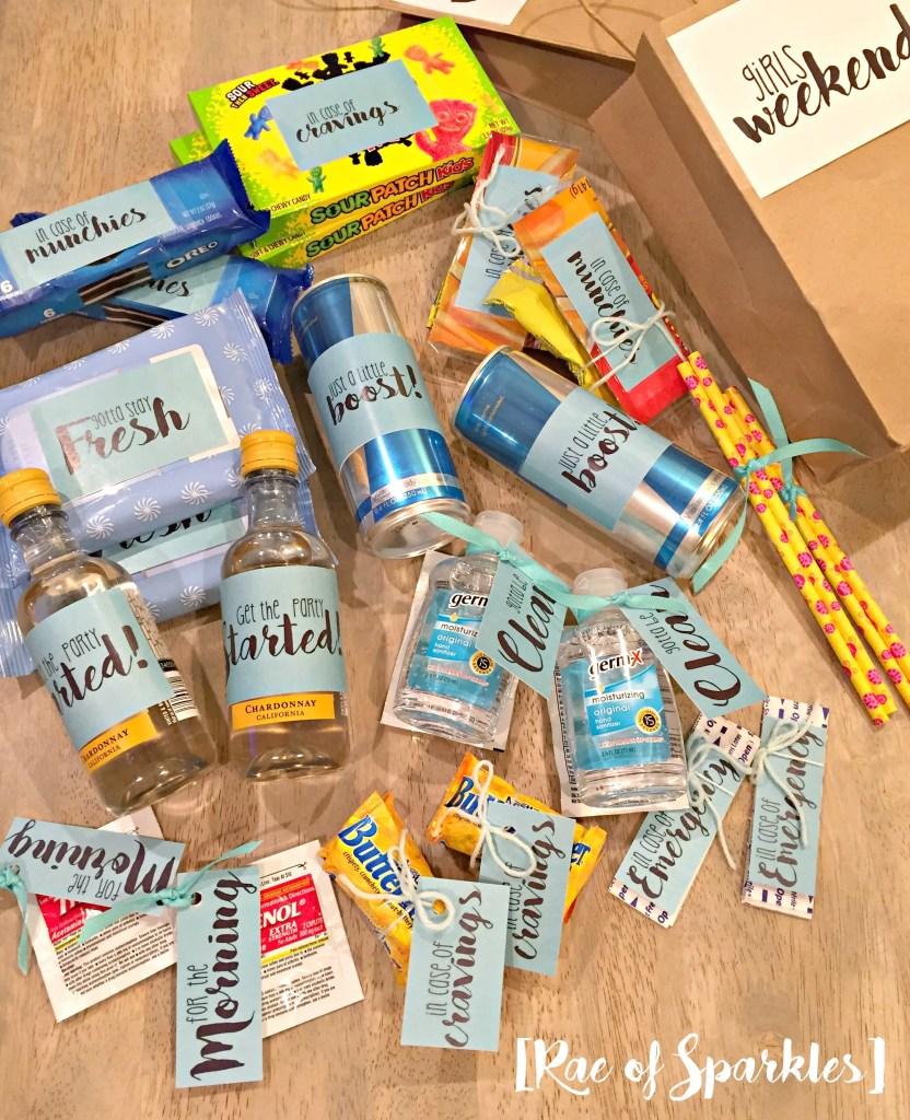 Girls weekend gift bags for Weekend get away ideas