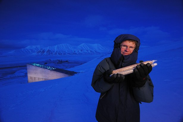 Cary Fowler in front of the Svalbard Global Seed Vault. Photo via National Geographic.