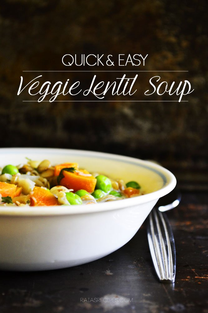 Quick & Easy Veggie Lentil Soup | gluten-free, grain-free, egg-free, sugar-free, with dairy-free option | RaiasRecipes.com