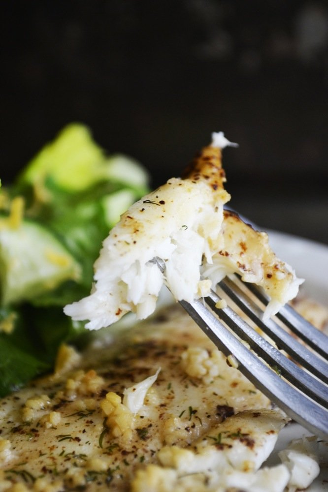 Garlic & Dill Baked Flounder in Browned Butter | gluten-free, grain-free, paleo | RaiasRecipes.com