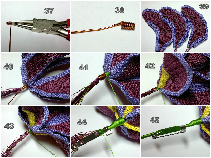 Фото сборка лепестков ириса связанного крючком