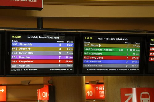 PIDS at Roma Street station - next trains for City and Northern suburbs