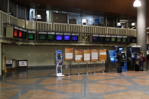 Red, green, blue and black: nothing on the next train displays at Flagstaff station