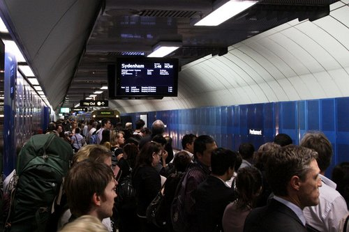 Packed platforms at Parliament station in the City Loop