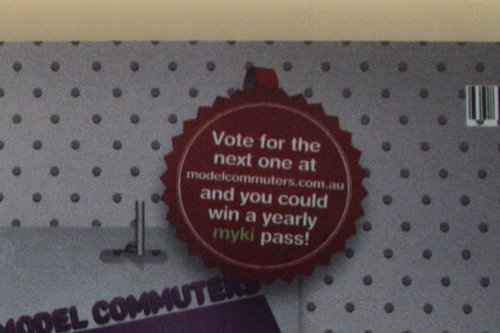 'Vote for the next one at modelcommuters.com.au and you could win a yearly myki pass' message