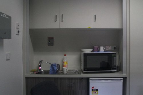 Kitchenette inside the PSO pod at South Yarra station
