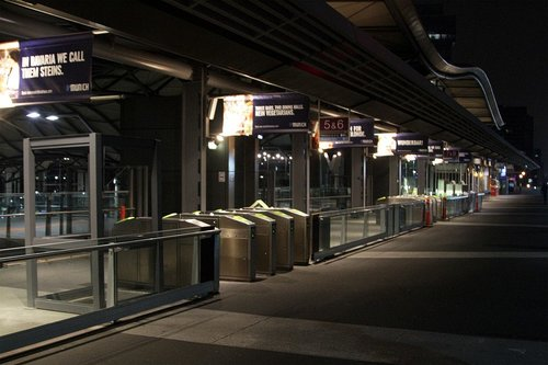 Work still pending on the new V/Line paid area fences on the Bourke Street bridge