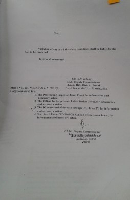 On the 21.3.2012 the Court hears the case and makes absolute the interim bail