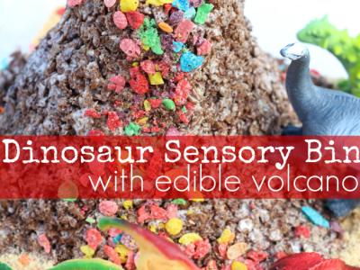 Dinosaur sensory bin with edible volcano pinterest