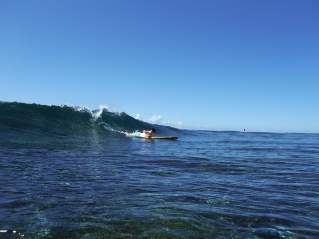 Surfing Ishigaki in 2013.