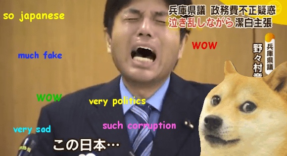 Ryutaro Nonomura (野々村 竜太郎), the crying politician and his internet fame : Crying Nomura and a shiba
