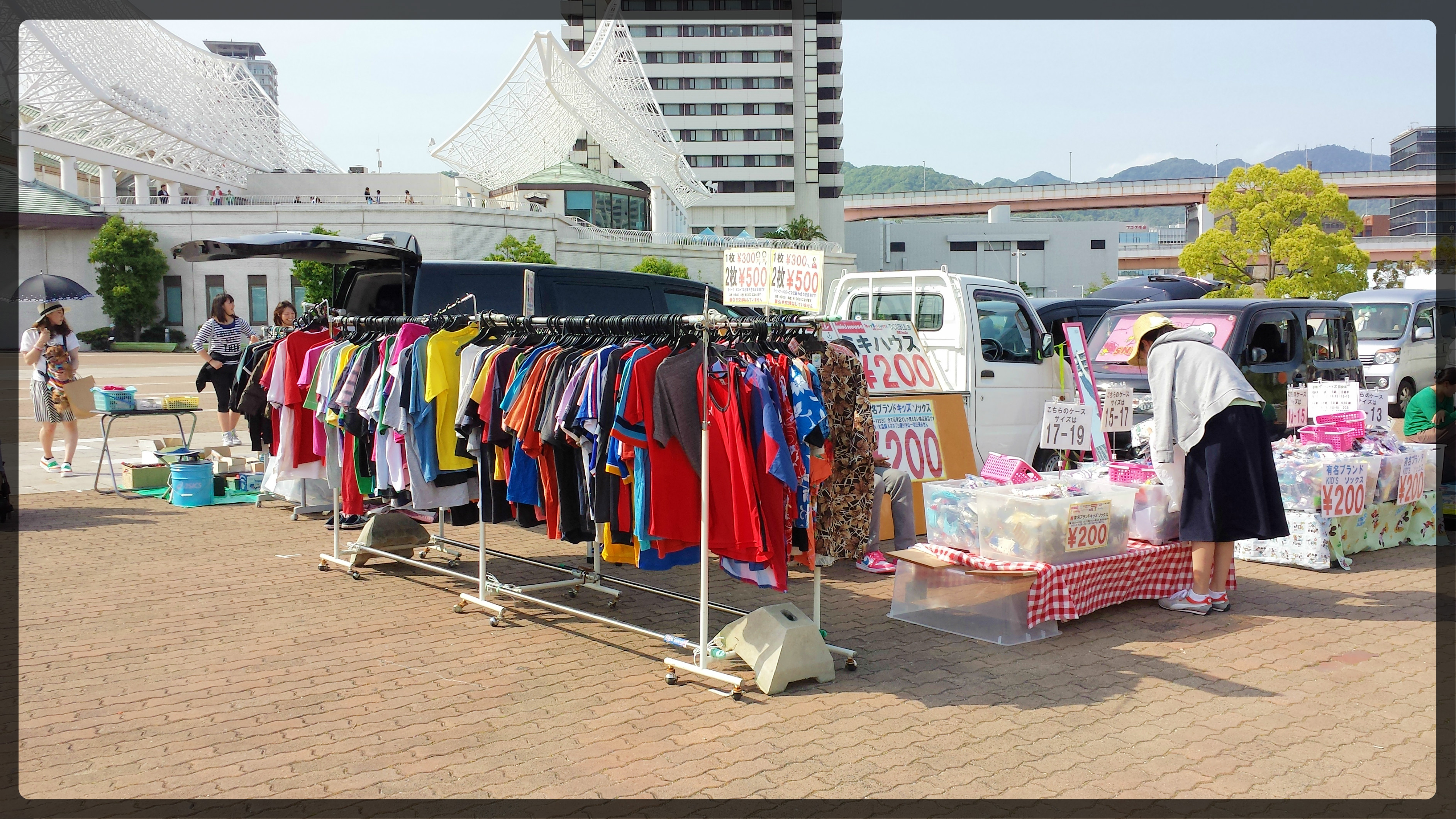 Flea Market at Meriken in Motomachi, Kobe. Clothes.