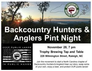 Backcountry Hunters & Anglers Pint Night @ Trophy Brewing Tap & Table | Raleigh | North Carolina | United States