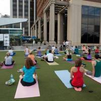 Yoga outside and downtown