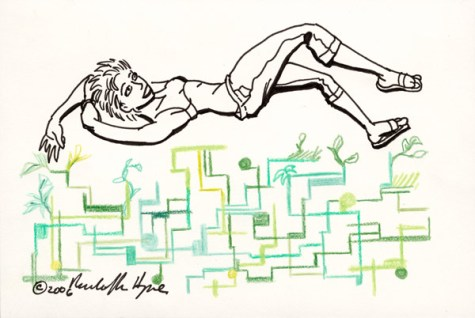 """Mindi over a grid of her own making 20061226 Colored pencil and marker, 4"""" by 6"""""""