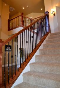 Alder and wrought iron balustrade.