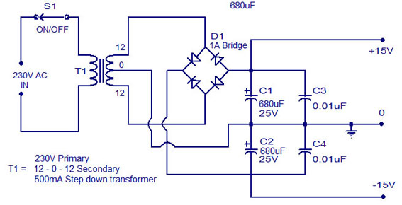 Gambar Skema Rangkaian Power Supply Kontrol Nada