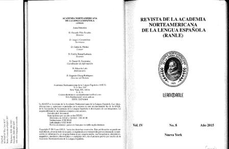 Revista de la Academia Norteamericana de la Lengua Española (RANLE).