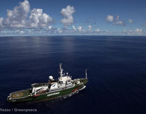 Aerial view of the Esperanza in sunny weather in the Indian Ocean. The Greenpeace ship Esperanza is currently on patrol in the Indian Ocean looking for illegal fishing vessels.