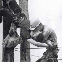 The Kiss of Life - A utility worker giving mouth-to-mouth to co-worker after he contacted a high voltage wire, 1967