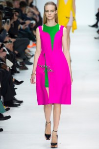 Embroidered fuchsia wool and green quilted dress
