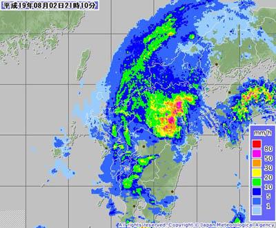 台風5号(2007年8月2日21時10分、気象庁レーダー降水ナウキャスト)