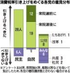 消費税率引き上げをめぐる各党の意見分布(「毎日新聞」2010年7月13日付)