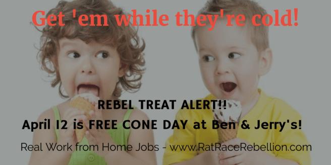 It's free ice cream day! - www.RatRaceRebellion.com