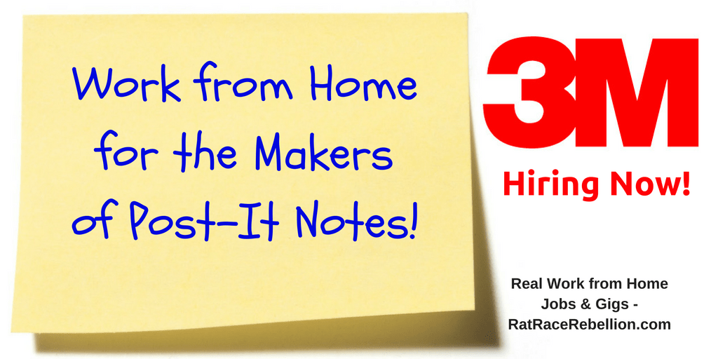 Work at Home for the Maker of Post-It Notes - 3M