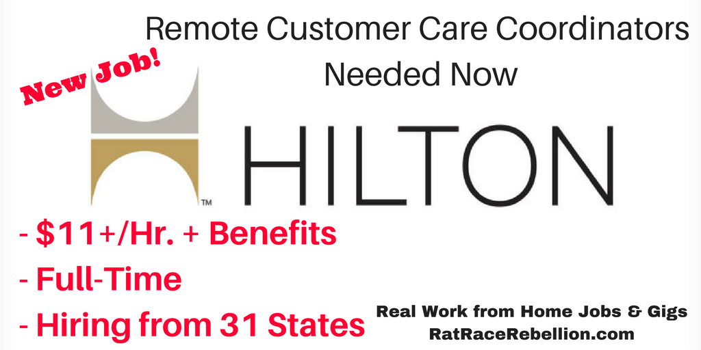 Just Posted - Hilton Hiring Work from Home Customer Care Coordinators