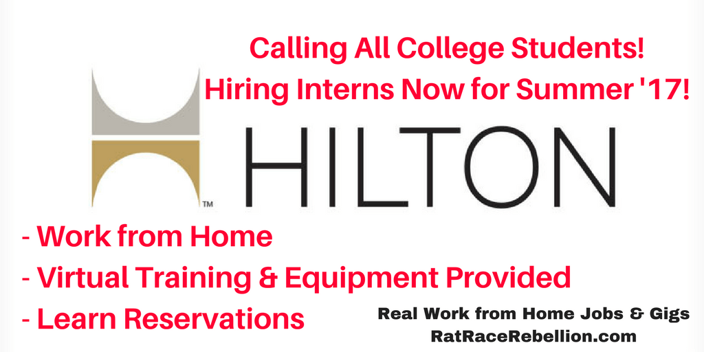 Calling All College Students! Work at Home for Hilton