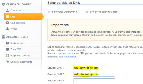 dondominio dns configuration to blog creation