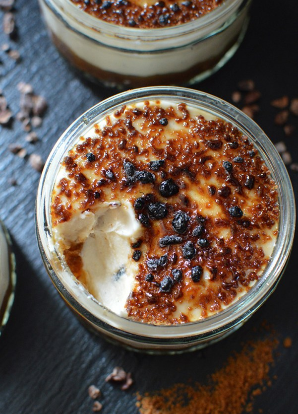 Raw salted date caramel Creme Brulee, topped with caramelised coconut sugar