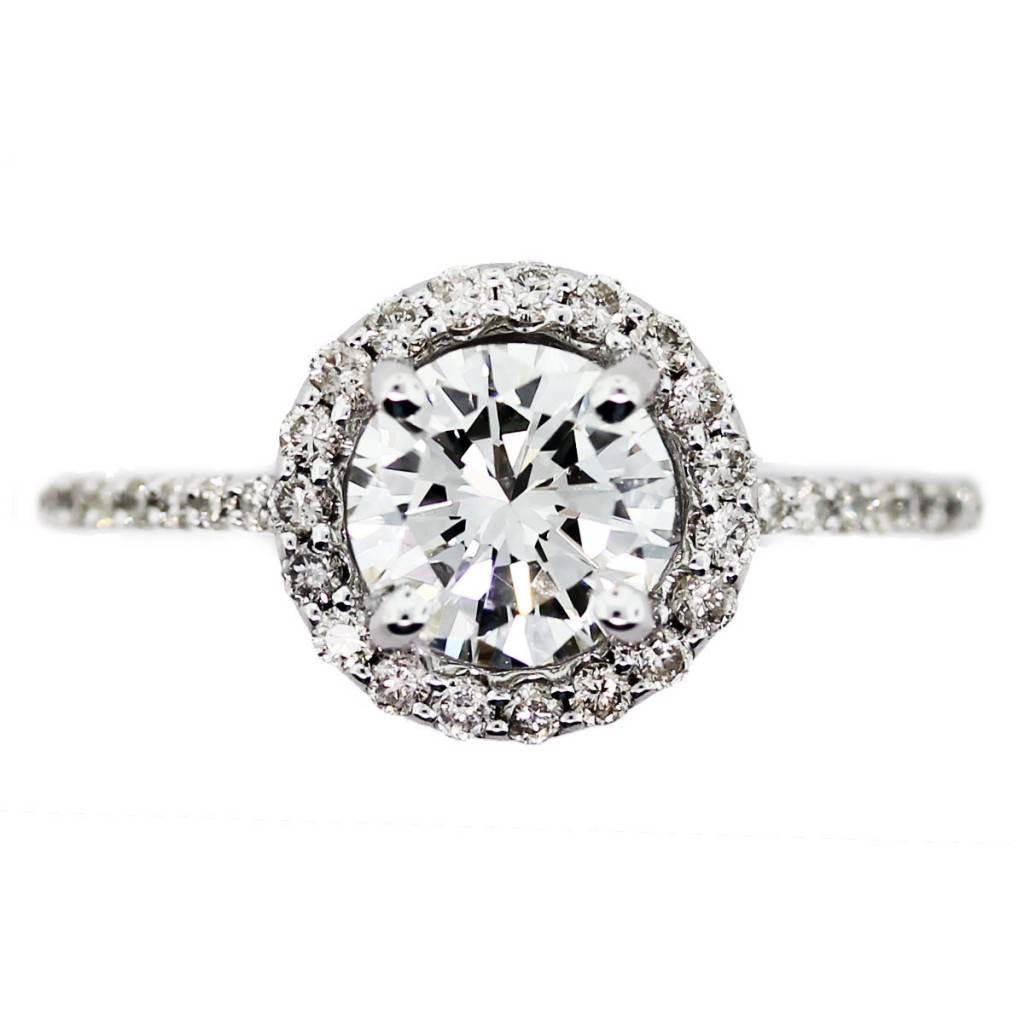 wedding nail ideas halo wedding ring sets One Carat Round Diamond Halo Set Engagement Ring