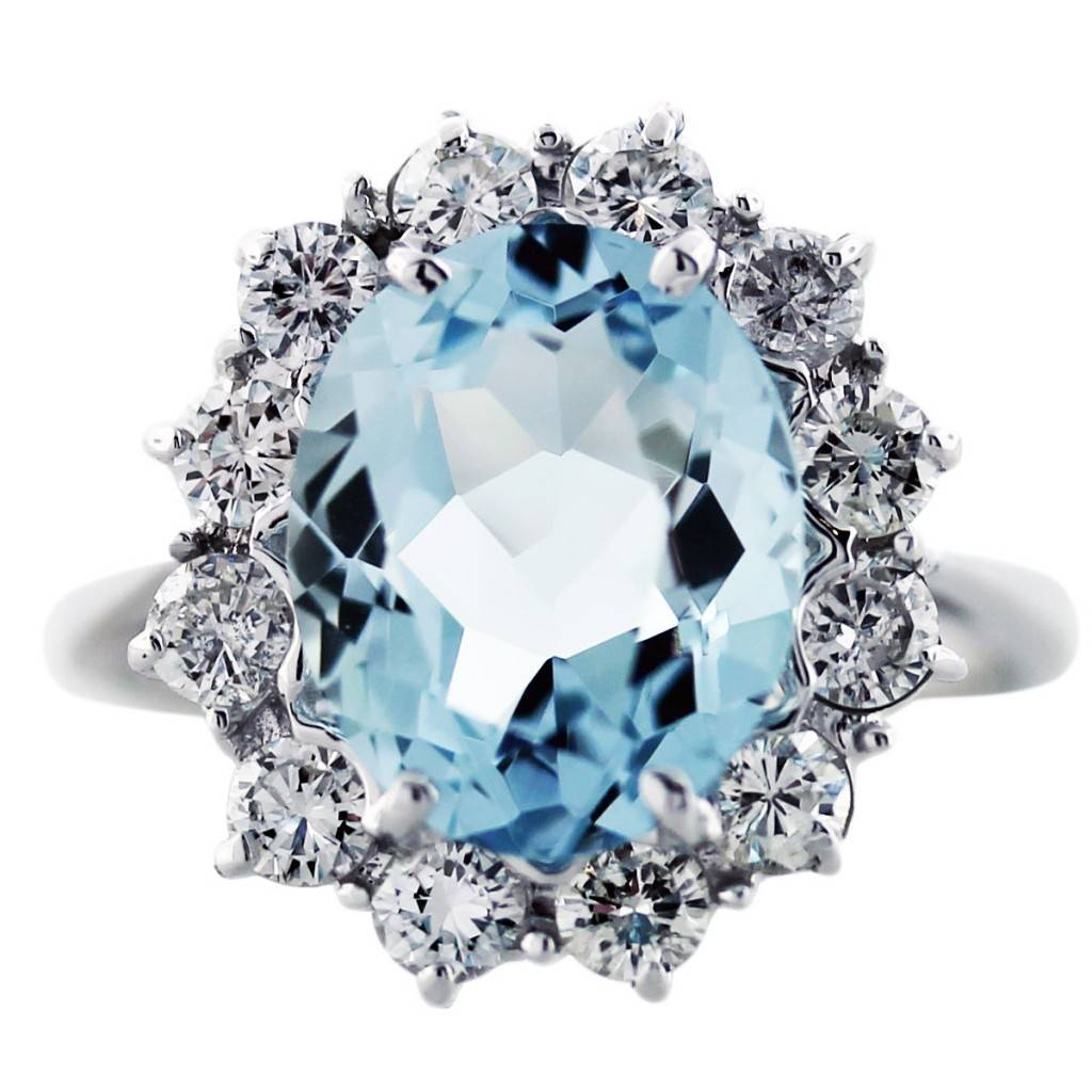 aquamarine and diamond cocktail ring in 14k white gold aquamarine wedding rings Aquamarine and Diamond Cocktail Ring in 14K White Gold