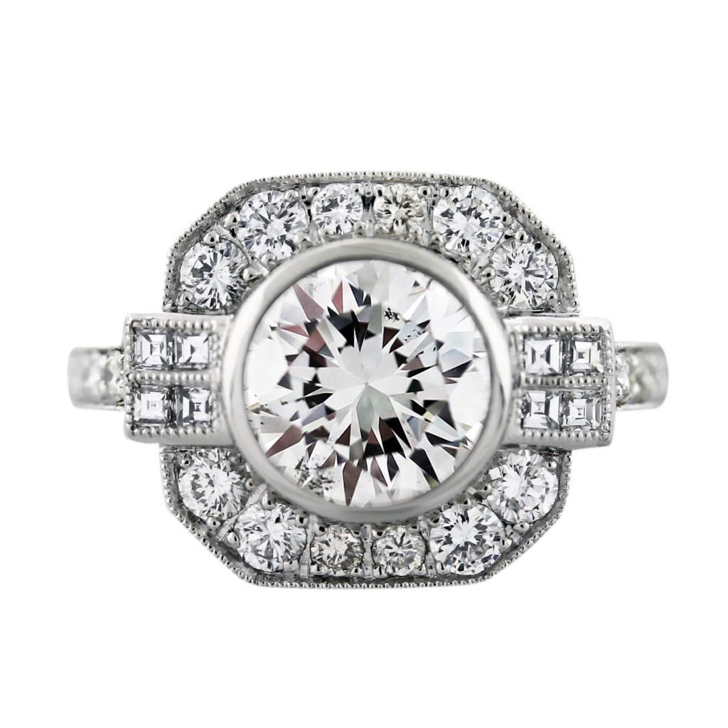 platinum art deco style 2 34 carat diamond engagement ring art deco wedding ring