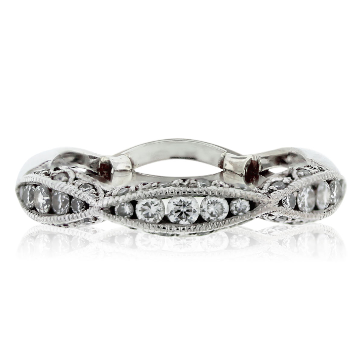 tacori classic crescent 18kt white gold diamond wedding band tacori wedding band wedding bands south florida