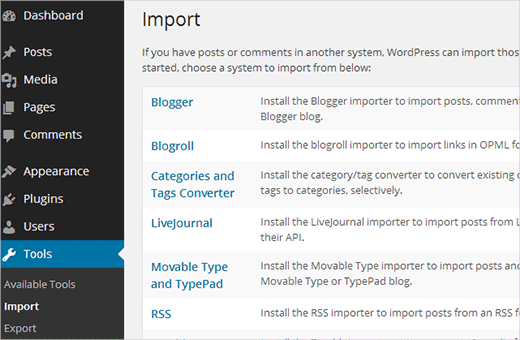 Blogger Import sang wordpress