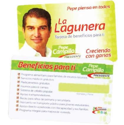 La tarjeta La Lagunera, uno de los artificios fraudulentos que el PRI utilizó para ganar las elecciones en Gómez Palacio y Lerdo.