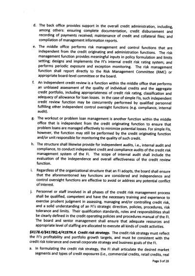 BSP Circular No. 855: Guidelines on Sound Credit Risk Management Practices; Amendments to the ...