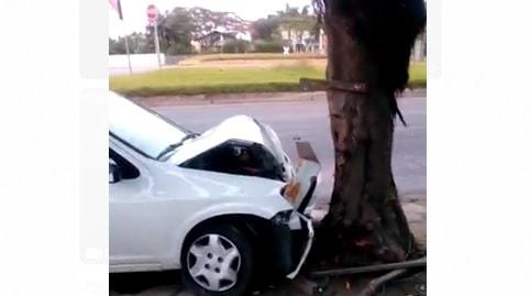 Jovem de 19 anos bate carro em árvore em Jaraguá do Sul
