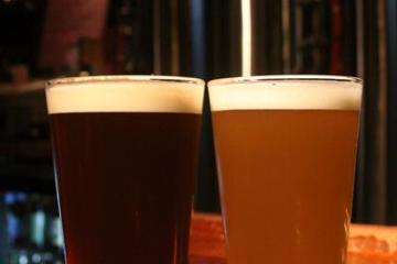 From left to right, India Pale Ale and Hefeweizen, two out of the many freshly brewed and original beer from downtown Champaign's own Blind Pig Brewery.  Photo by James Kyung