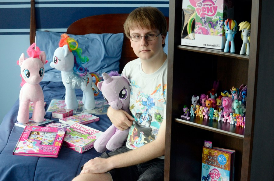 Alexander Blake shown with his My Little Pony collection at home in Innisfil, Ontario, June 23, 2013. (Aaron Harris/Toronto Star)