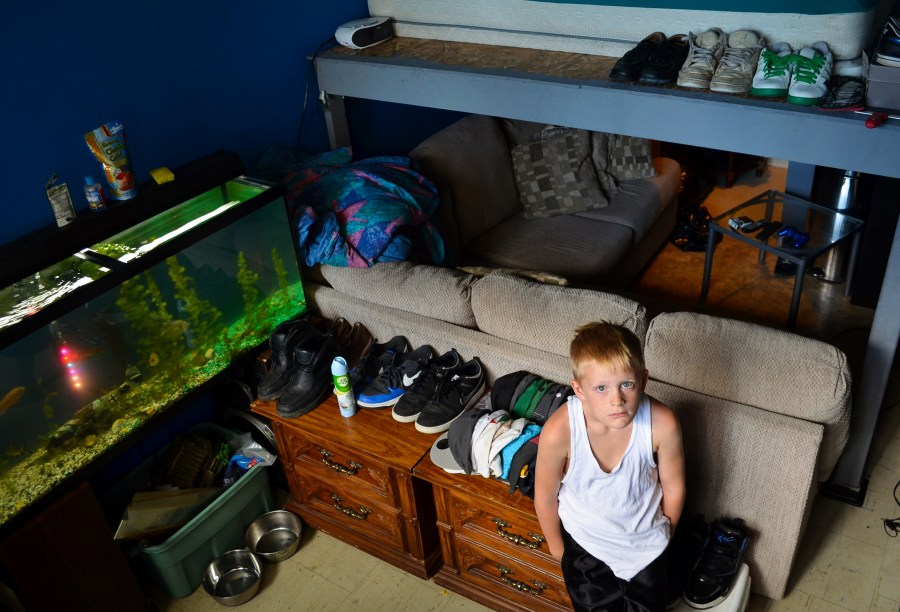 Braden Scopie, Josh Ramoo's 7-year-old son who built a connection with Yatim in the weeks before his death, in the room Yatim renovated. (Alex Consiglio/Toronto Star)