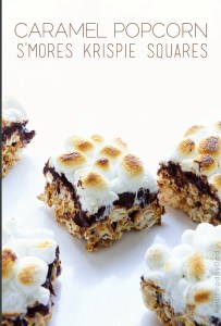 Caramel Popcorn Smores Krispie Squares via Real Food by Dad